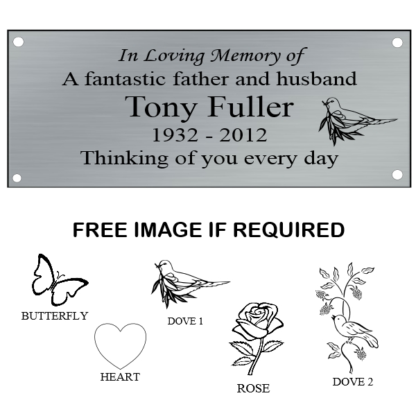 Silver Laminate Memorial Bench Plaque